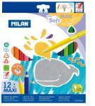 MILAN Színesceruza készlet MILAN 961, 12 különböző szín, háromszög test, extra puhaságú, vastag bél