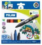 """MILAN Filctoll készlet MILAN 643 Maxi, 8 db színes filctoll + 2 db """"varázsfilc"""", 7 mm-es hegy, hengeres test"""