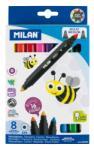 """MILAN Filctoll készlet MILAN 640 Maxi, 8 db-os - 16 különböző szín, kétvégű """"Bicolour"""" filctoll, vastag hegyű (7 mm), hengeres test"""
