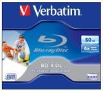 BD-R BluRay lemez, kétrétegű, nyomtatható, 50GB, 6x, normál tok, VERBATIM (BRV-6DLN)