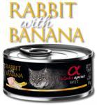 Alpha Spirit Alpha Spirit Complete wet cat food - Заек с Банан консерва за котки с 92% месо и 4% плодове - 85 гр (gal 20203 Alpha Spirit Complete wet cat food Заек Банан 85гр)
