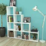 vidaXL Стълбовидна библиотека/полица 142 см, бяла (242550)