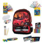 DP Pachet special Ghiozdan Scoala DP Collection Urban Cars rosu plus articole de colorat (DPC-15-9478-B)