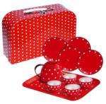 Fakopáncs 15 db-os fém teáskészlet bőröndben (piros) 2259