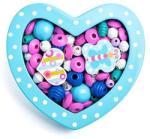 Woodyland Felfűzhető gyöngyök - Kis szív - türkiz