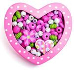 Woodyland Felfűzhető gyöngyök - Kis szív - rózsaszín