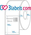 3labels бели етикети от хартия за термодиректен (direct thermal) печат 105х148 мм, 250 бр