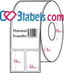3labels полугланцови бели етикети от хартия за термотрансферен (thermal-transfer) печат по 2 бр. етикета на ред 52х74 мм, 4300 бр