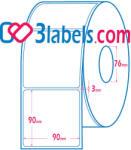 3labels матови бели етикети от хартия за инкджет (inkjet) печат 90х90 мм, 1000 бр