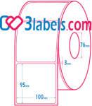 3labels гланцови бели етикети от хартия за инкджет (inkjet) печат 100х95 мм, 1000 бр