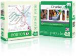 New York Puzzle Company Двустранен мини пъзел New York Puzzle от 100 части - Карта на Бостън (NYPSW122)