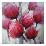 Mendola Tablou pictat manual Tulip roz, dimensiunea 30x30cm