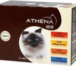 Athena Athena - ПАУЧОВЕ МУЛТИПАК ЖЕЛЕ, 3 х говеждо и пилешко месо, 3 х домашни птици и черен дроб, 3 х патица и пуйка, 3 х морска треска и раци, пълноценна храна за израснали котки, Германия - 12 х 100 гр (i