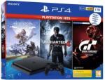 Sony PlayStation 4 Slim Jet Black 1TB (PS4 Slim 1TB) + PS Hits: Horizon Zero Dawn + Uncharted 4 + Gran Turismo Sport Console
