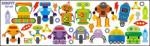 Mint Kitten Stickere de perete ROBOTI Decoratiune camera copii