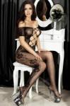 CHILIROSE Bodystocking Sexy Cu Dantela Catsuit, Negru - S/M