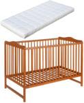 Casa Bebelusului Patut lemn Kinga Natur 120X60 cm cu saltea hrisca/cocos 9.5 cm gratuit copii, bebelusi PAK-Kinga-190