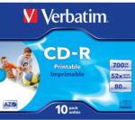 "Verbatim BLANK CD-R Verbatim AZO 52X 700MB JC WIDE INKJET PRINTABLE ID BRANDED ""43325"" (pret la 1 buc. ""43324"" CD - 10buc. / cutie) (43325)"