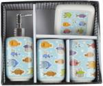 Set baie portelan 4piese (suport sapun lichid +sapun solid +periute dinti si pahar)