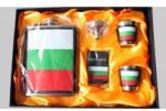 Stainless Комплект метална манерка за алкохол чашки и табакера България