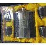 Dinghao Подаръчен комплект - Джобна манерка Джак Даниелс + 4 чаши