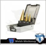 Welzh Werkzeug Lemezfúró, lépcsős - készletben 3 db-os HSS TiN 4-30 mm - Welzh (4098-WW) (4098-WW)