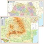 Harta de perete cu 2 fete, Romania, plastifiata 140x100 cm