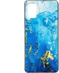 Touch of luxury Husa Samsug S20 Plus silicon cu sticla marmura albastru gold