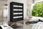 Expedo Dulap dormitor cu uşi glisante STAWEN IV, 150x200x58, negru/alb luciu Garderoba
