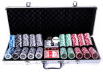 MagazinulDeSah Set poker cu 500 chips-uri ABS 11, 5g model ULTIMATE si servieta din aluminiu