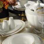 Kütahya Porselen 83 darabos étkészlet fehér-arany (60005570)
