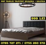 Vento Pat INO - Tablie Tapitata - Wenge/Negru 160 x 200 + Saltea Lux Ortopedica