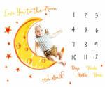 drool Paturica Milestone plusata pentru fotografii memorabile Luna Galbena (2lun1) Lenjerii de pat bebelusi, patura bebelusi