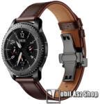 Valódi bőr okosóra szíj - speciális pillangó csatos, 120 + 80mm hosszú, 22mm széles, 165-220mm átmérőjű csuklóméretig - FEKETE / KÁVÉBARNA - HUAWEI Watch GT / HUAWEI Watch 2 Pro / Honor Watch Magic /