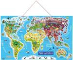Woodyland Дървен пъзел с магнитни части Woody - Карта на света, 2 в 1 (91290) - ozone