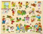 Woodyland Детски дървен пъзел Woody с дръжки - Eдин ден във фермата (91912) - baby